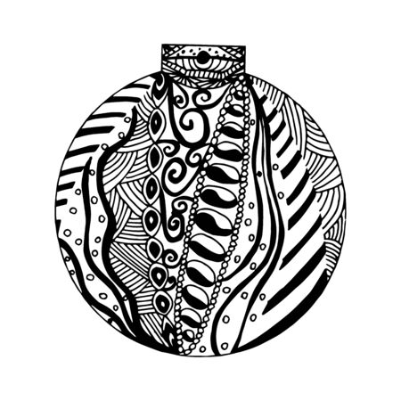 Handdrawn black and white ball with different pattern elements. Illustration