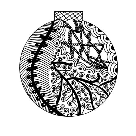 handdrawn black and white ball with different pattern elements