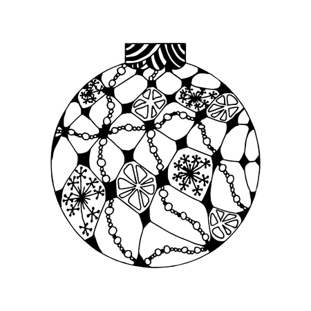 Handdrawn black and white ball with winter pattern. Christmas decoration