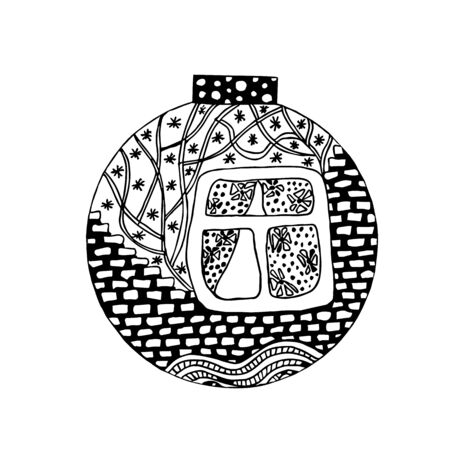 Handdrawn ball with winter house image. Black and white
