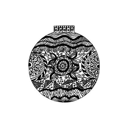 Black and white handdrawn ball with many different elements