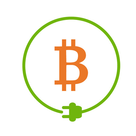 Bitcoin sign in the circle of electric plug