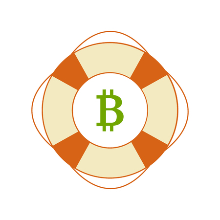 Flat style icon of bitcoin in safety ring. Keeping money safe