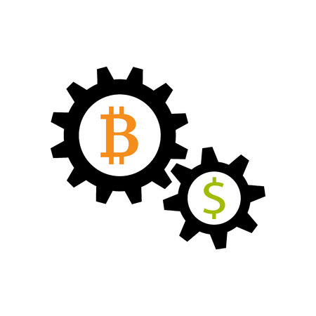 Gear wheels with bitcoin and dolalr and exchange symbol