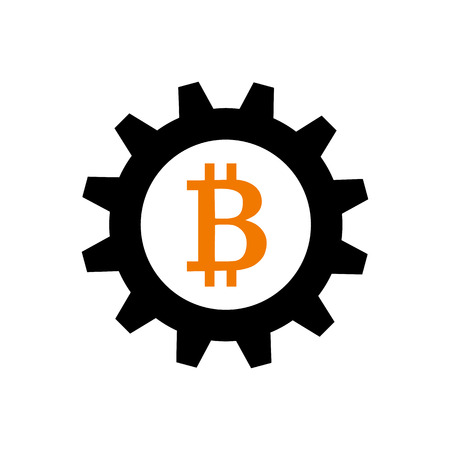 Bitcoin in gearwheel as symbol of cryptocurrency mining