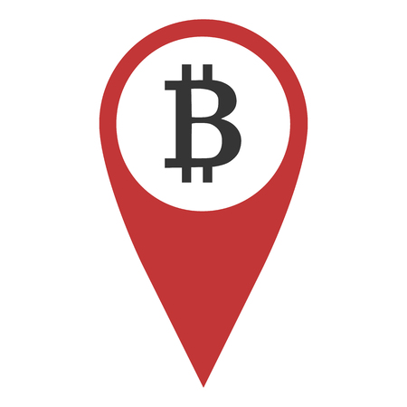 Red geo pin with bitcoin sign, flat style icon