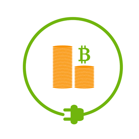 Flat style icon of profit from bitcoin mining Illustration