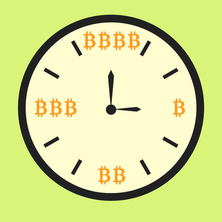 Clock displaying increasing bitcoin income, flat style