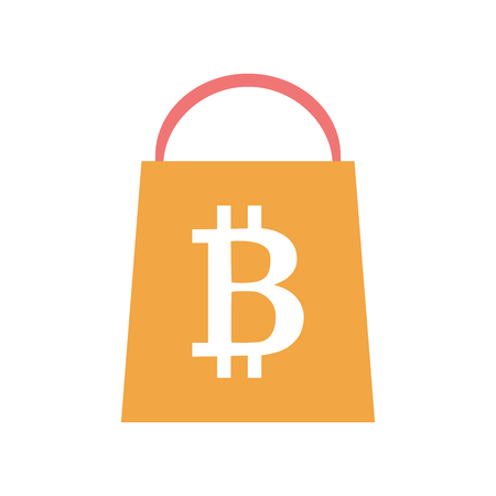 Flat style icon with online bitcoin shopping Illustration