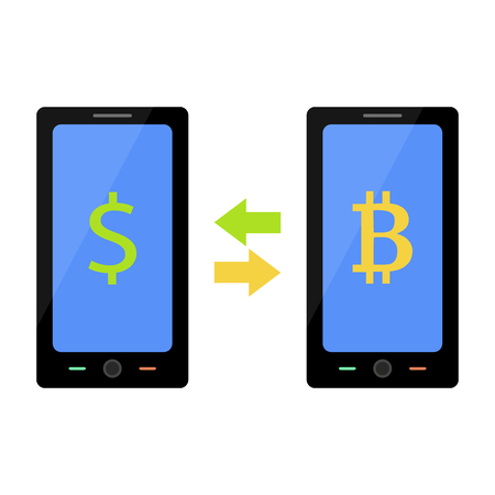 Flat style illustration of bitcoin and dollar exchange