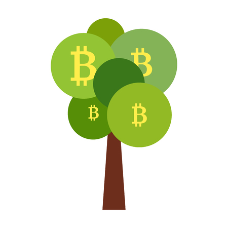 Flat style illustration of tree with bitcoins as symbol of high income Illustration