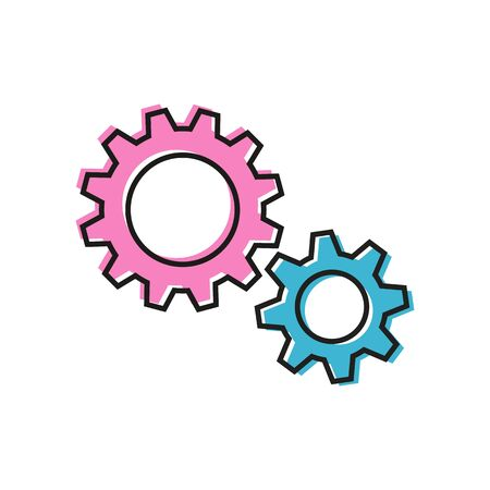 Gender relationships. Pink and blue gear wheels as male and female couple