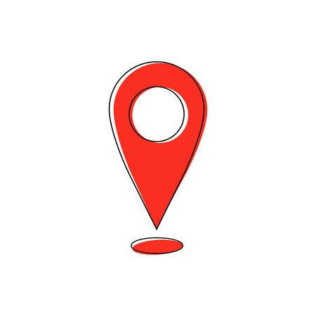 Red pin on white. Geolocation and navigation