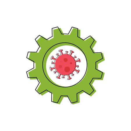 Coronavirus inside green gear. Vaccine invention, recovery progress