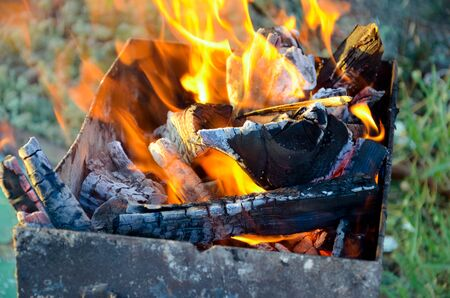 whiff: Firewood in the brazier Stock Photo