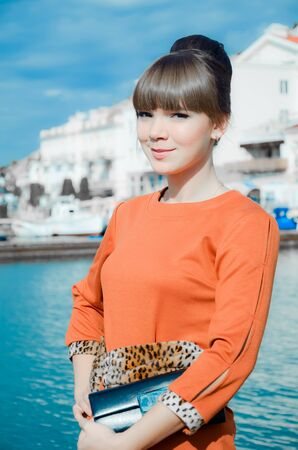 Portrait of beautiful young woman outdoors in Crimea