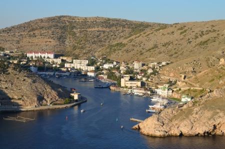 View of bay in Balaclava in aurumn in Crimea Stock Photo