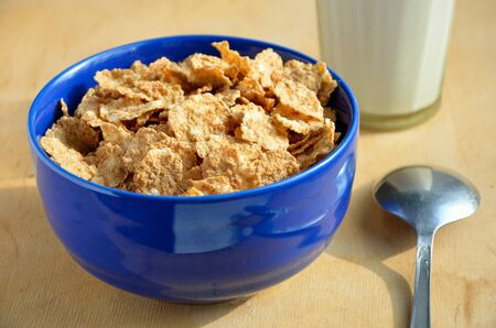 Close up of corn flakes on the plate