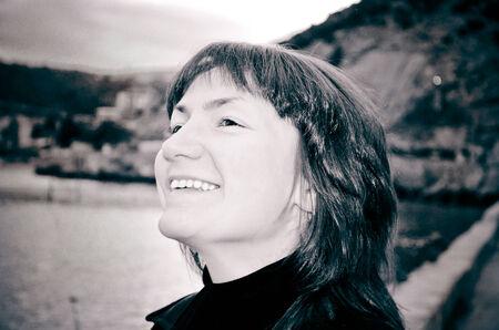 Portrait of pretty woman outdoors