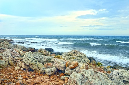 Background of sea with waves over sky Stock Photo