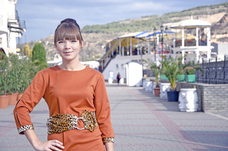Portrait of yound woman outdoors in Crimea near seafront