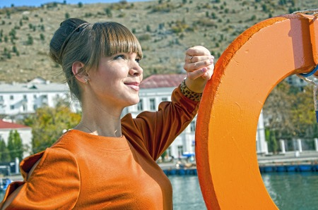 maquillage: Portrait of yound woman outdoors in Crimea near seafront