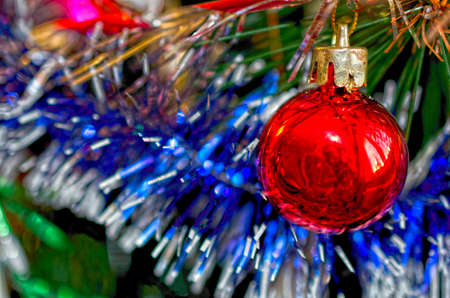 Christmas background of close up tree with ball