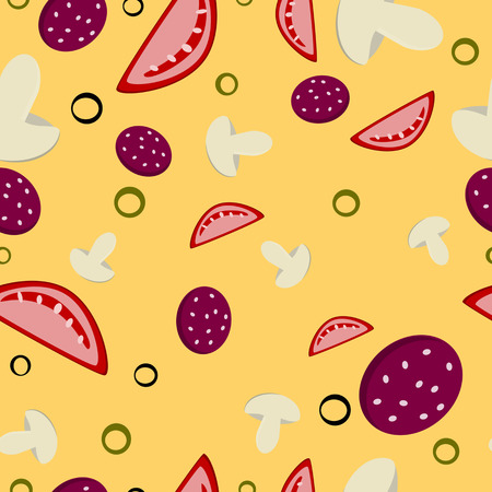 ingridients: Seamless pattern of pizza ingridients over yellow background Illustration