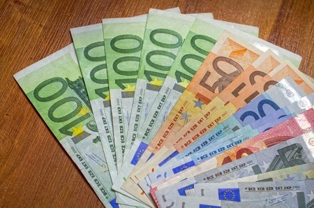 Background of Close up euro and dollars different  denomination 스톡 콘텐츠