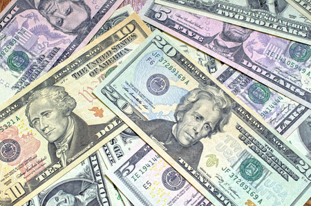 denomination: Background of Close up dollars different denomination Stock Photo
