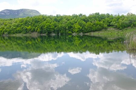 Beautiful view on lake in summer in spring. Village Bogatyr Bakhchisaray district, Crimea