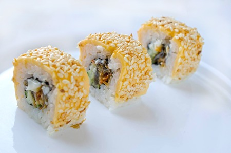 Close up of tasty fresh sushi rolls on white plate