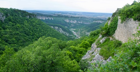 View on mountains and forest in Southern coast of Crimea in summer