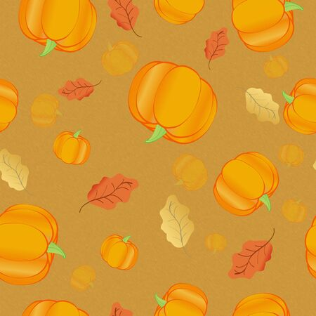 Thanksgiving seamless simple pattern with pumpkin and leaves