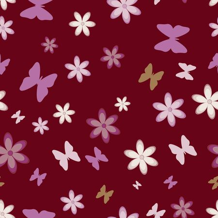 Seamless  simple background of many flowers and butterflies Stock Photo