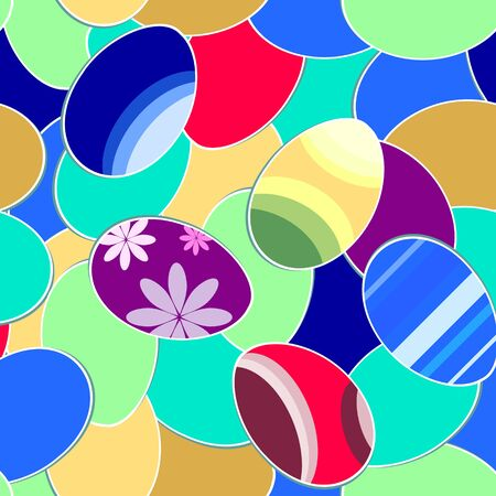 Easter seamless colorful background with different eggs?