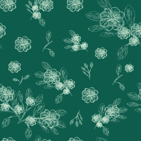 Abstract seamless pattern of cute hand painted simple flowers ?