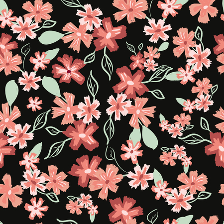 Abstract seamless pattern of cute hand painted simple flowers? Illustration