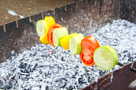 Close up of Tasty fresh vegetables on brazier
