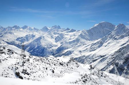 Landscape of beautiful slopes of the Caucasus Mountains, Elbrus