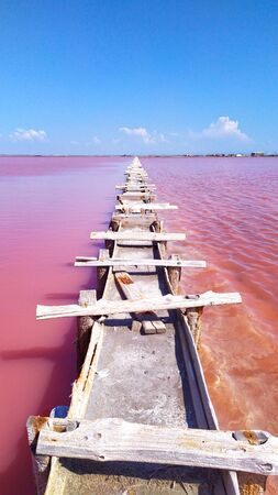 Pink calt lake in Crimea. Evpatoria, lake Sasyk-Sivash