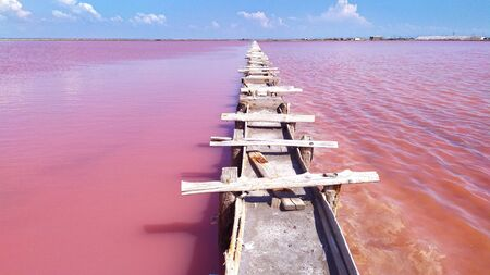 Pink calt lake in Crimea. Evpatoria, lake Sasyk-Sivash