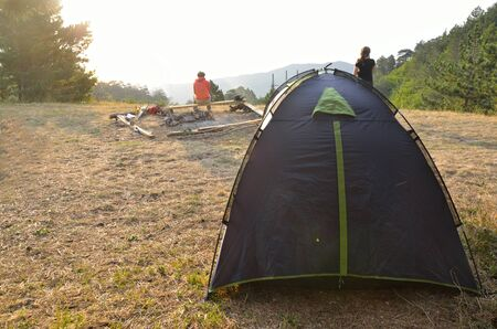 Background of camp over sunrice in mountains in morning of Crimea Stock Photo