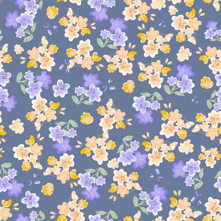 Abstract seamless pattern of cute hand painted simple flowers for textile,linens, clothes, postcard, pareo