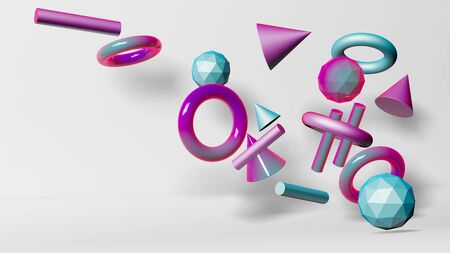 Balls, cylinders, cones in pink, blue and purple tones on a white background.