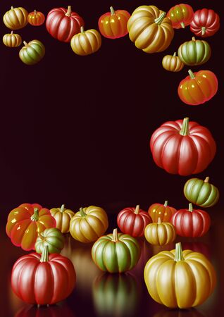 Vertical 3D rendering composition with red, green and orange pumpkins on dark background. Stok Fotoğraf