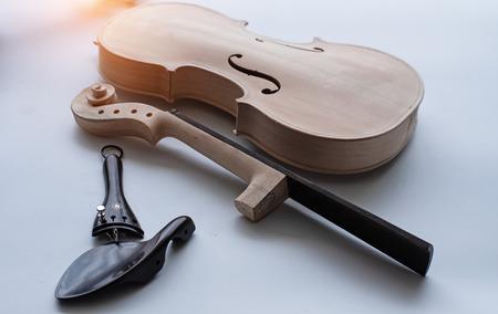 The raw violin put on white background,blurry light around