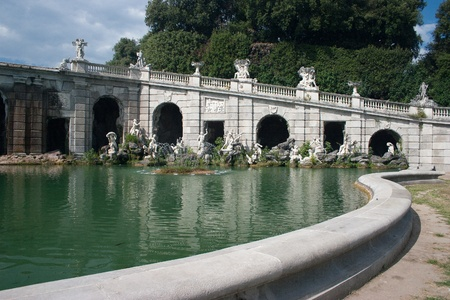 Fountai with curve in the Caserta Royal Palace