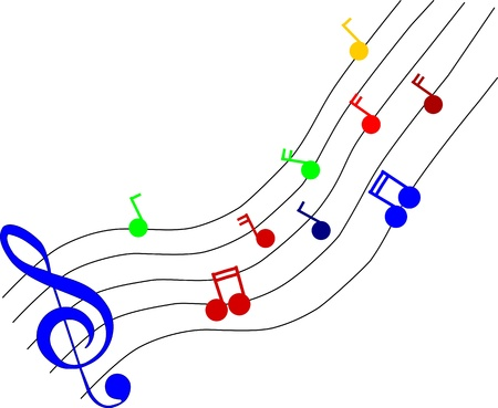 musical score: Coloured music notes isolated on white background Illustration