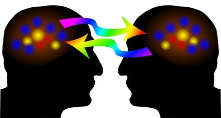 cerebro blanco y negro: La actividad del cerebro en la silueta humana: el intercambio de ideas Vectores